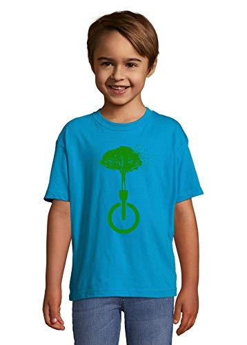 Luckyprint Dissconnect Green Nature Forest Birds Hippie Art Blue Kids Colorful T-Shirt 4 Year Old (96/104cm)