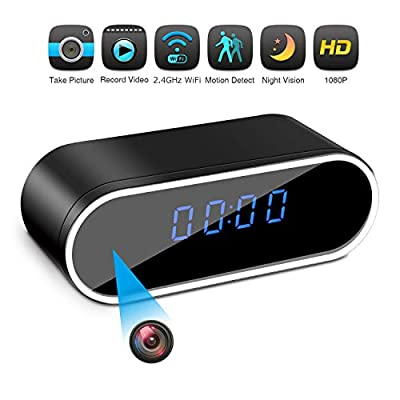 Hidden Camera Clock Spy Camera WiFi Wireless Full HD 1080P Security Camera Night Vision Motion Activated Indoor Outdoor Small Nanny Cam for Cars Home Apartment