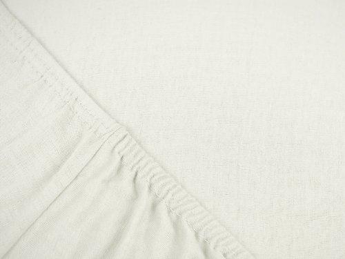 npluseins klassisches Jersey Spannbetttuch – erhältlich in 34 modernen Farben und 6 verschiedenen Größen – 100% Baumwolle, 70 x 140 cm, naturweiß - 4