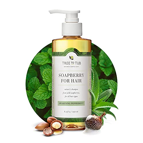 Clarifying Shampoo for Sensitive Skin by Tree To Tub | pH 5.5 Balanced & Hypoallergenic for All Hair Types with Organic Argan Oil Wild Soapberries Natural Peppermint Oil 8.5 oz