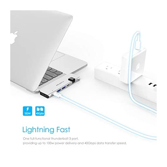 LENTION USB C Portable Hub with 100W Power Delivery, 40Gbps USB C Data, 4K HDMI, 2 USB 3.0 and Gigabit Ethernet Adapter… 2 All in One Hub - LENTION USB-C Portable Hub for 2019/2018/2017/2016 MacBook Pro 13/15, New MacBook Air features 40Gbs Thunderbolt 3, 100W Power Delivery, 4K HDMI, Gigabit Ethernet, Type-C Data and 2 USB 3.0 Ports. (Note: Doesn't fit if there is a case on your Mac. Not for Superdrive) Both Video and Audio - Ideal solution for connecting the New MacBook Pro to HDMI-enabled TVs / Monitors / Projectors for both video and audio transfer. Streaming sports events, gaming, movies with performance up to 4K (3840x2160)@30Hz Faster Than Ever - The LAN adapter offers Max 1000 Mbps Gigabit ethernet, downward compatible for 10/100 Mbps superfast network, much more faster and reliable than most wireless connections