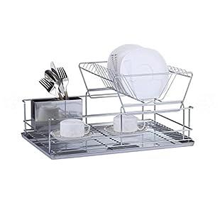 Luxury Stainless Steel Galvanized 2 Tier Dish Drainer (Steel):Shizuku7148