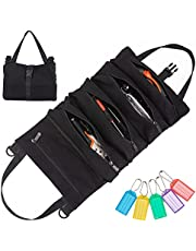 Nsnswa Canvas Tool Roll Up Bag,Wrench Roll Up Tool Pouch Multi-Purpose, Canvas Tool Pouch for Motorcycle Carry Tools,Garden tools and Electrician tools