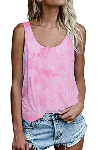Damen Shirts Ärmellose Sommer Tunika Loose Fit Tank Tops (964Rosa, Medium)