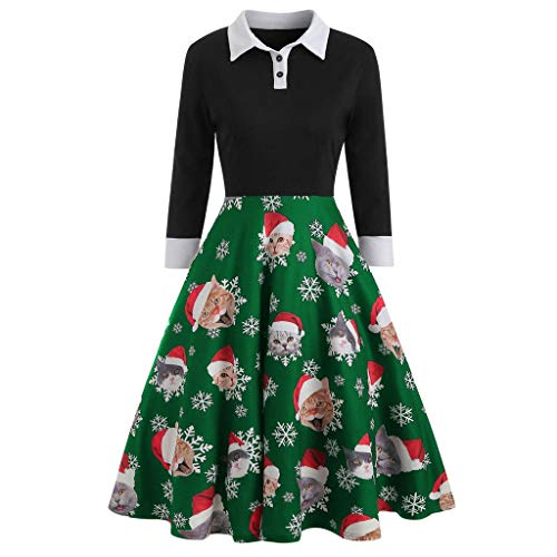 Great Price! Baiggooswt Women Christmas Dress Notched Collar Vintage Snowflake Gift Slim Long Sleeve...