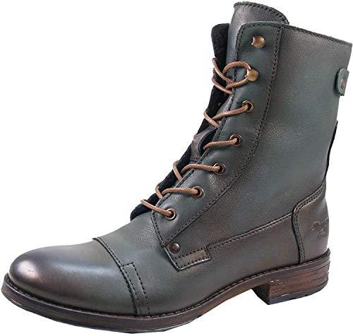 Mustang 2853-516 Schuhe Damen Stiefeletten Chelsea Boots Schnür-Booty, Schuhgröße:39, Farbe:Grün