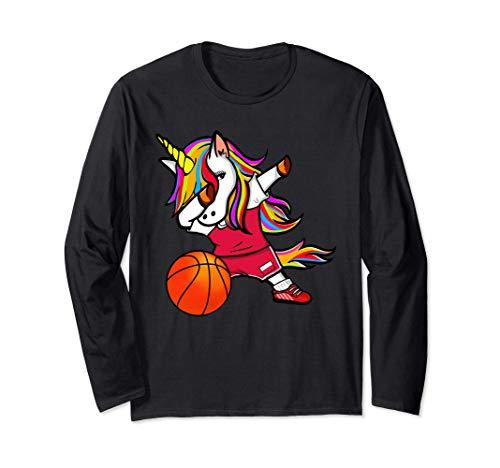 Funny Dabbing Unicorn かわいいダビングユニコーン ポーランド バスケット ボール ポーランドの旗 長袖Tシャツ