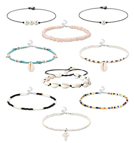 FINREZIO 9PCS Beaded Choker Necklace for Women Blue Starfish Faux Pearl Chokers Shell Puka Vsco Necklaces Set for Teen Girls