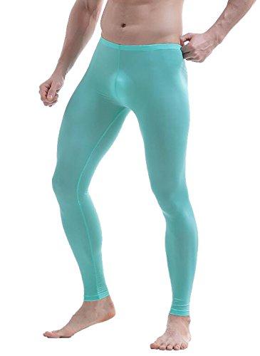 JnZeBly Men Thermal Sexy Slim Fit Ice Silk Leggings Underpants Clubwear Blue XL