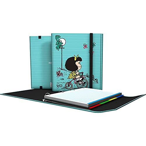 Mafalda 88212639. Carpeta 4 Anillas con Solapa, A4, Cierre de Gomas, Incluye Recambio y Separadores, Carpeplús Mafalda, Bici