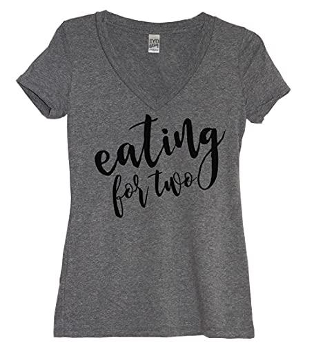 It's Your Day Clothing Eating for Two - Camiseta de Cuello en V para Mujer, diseño de Anuncio de Embarazo, Color Gris Jaspeado - Gris - 4X