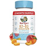 Vitamin D3, K2 Calcium Gummies by MaryRuth's, Plant Based, Non-GMO, Gluten Free for Men, Women & Kids, 2 Month Supply (60 Gummies)