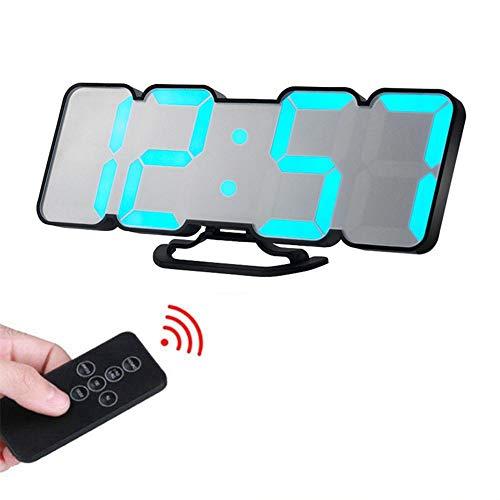 ShiLei Reloj de Alarma de Pared Digital LED 3D con Control Remoto, 2 Modos de visualización de Tiempo, Control de Sonido Inteligente, 115 Colores, Alta sensibilidad, diseño único