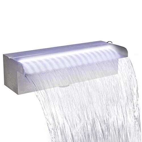 Tidyard Fuente Cascada Rectangular LED Piscina Acero Inoxidable 30 cm