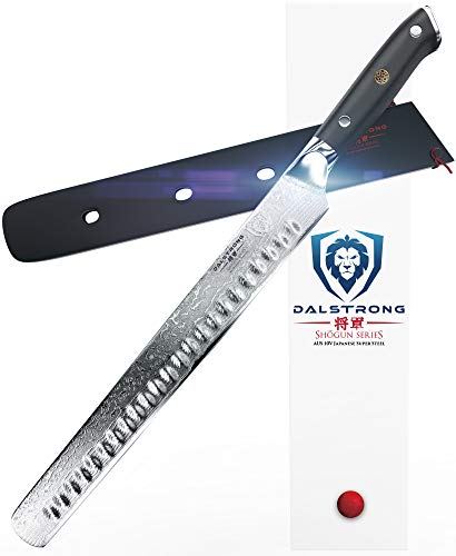 "DALSTRONG Slicing Carving Knife - 12"" Granton Edge - Shogun Series - Japanese AUS-10V Super Steel - Damascus - Vacuum Treated - Sheath"