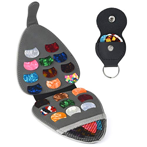 Guitar Picks Holder Case Guitar Strap Locks and Button,Picks 20 Pack Includes Light//Medium//Heavy