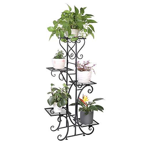 unho Estantería de Hierro para Macetas Soporte de Flores Plantas para Decoración Exterior Interior Jardín con 5 Niveles 107 x 57 x 22cm