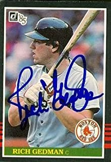 Rich Gedman autographed Baseball Card (Boston Red Sox) 1985 Donruss #457 - Autographed Baseball Cards