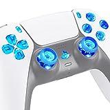 eXtremeRate LED Botones para PS5 Control Multicolores Joysticks D-Pad Acción Share Home Botón Luminoso Teclas para PS5,7 Colores 9 Modos DTF LED Kit para PlayStaion 5-No Incluye Control(Transparente)