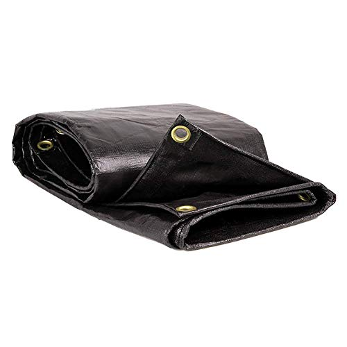 Kzf buitenzeil Heavy Duty waterproof, zwart met oogjes, afdekking voor de tent 180 g/M2