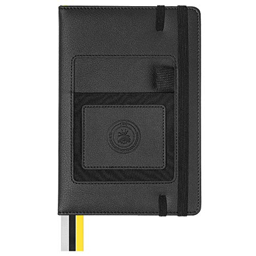 T.U.N.J. The Ultimate Notebook Journal - A5 Professional Business Daily Planner Lined Journal Organizer - Pocket for Phone! Personal Agenda, Daily Checklist, To-Do List Notebook, Black, 250 Pages