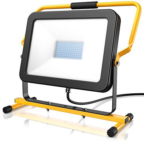 Brandson - 100 Watt LED Baustrahler - Arbeitsscheinwerfer - Bauscheinwerfer - 126 SMD LEDs - Standgestell und Tragegriff - 10000 Lumen – 4 m Stromkabel - Metallgehäuse - IP65