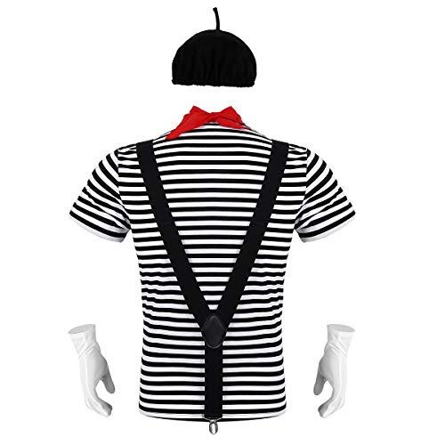 Alvivi 5Pcs Disfraz Mimo Francés Artista Hombre para Carnaval Halloween Actuación Traje...