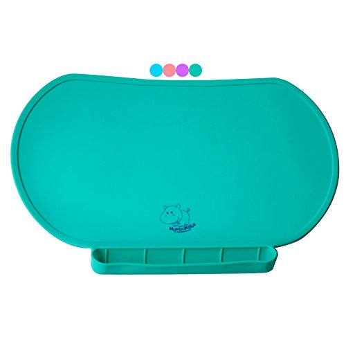 Children Place Mat By Baby Mumbo, Premium Quality, Food Grade Silicone For Maximum Hygiene, Unique Raised Edges Design and Spill Proof Accident Tray, Lightweight and Portable, 4 Colors (Giggle Green)