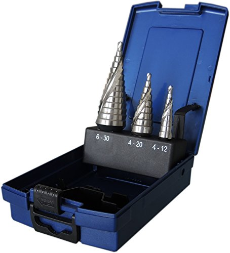 3-tlg. Stufenbohrer-Satz HSSE CO 5% Cobalt legiert, 4-12 4-20 + 6-30 mm, spiral genutet