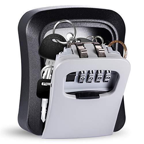 Caja fuerte para llaves Lavvio resistente al agua para exteriores, con casas, garajes, caja fuerte con código numérico exterior, caja de llaves con contraseña