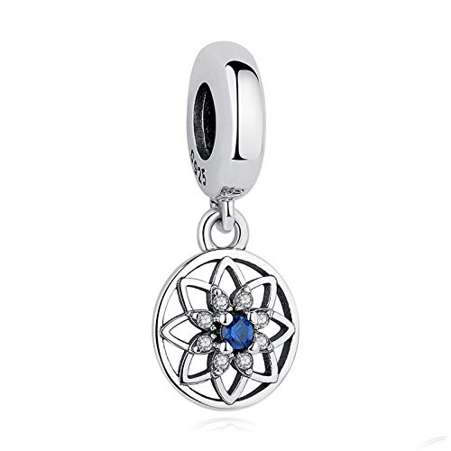 Charm Jewelry Vintage 925 Sterling Silver Blue Clear Crystal Flower Dangle Charms Fit Original Bangle Bracelet Diy Beads Jewelry