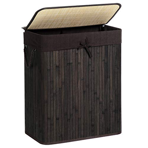 SONGMICS Double Laundry Hamper with Lid Divided Bamboo Laundry Basket with Removable Liner Two-Section Collapsible Hamper Sorter with Handles 100L Brown ULCB64BR