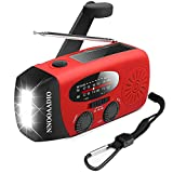 Hand Crank Emergency Weather Radio, Solar Battery Operated Survival NOAA AM FM Radio Portable with 3 LED Flashlight Kit, Built-in 1200mAh Power Bank & USB Charger