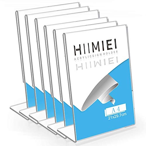 HIIMIEI Lot de 6 Présentoirs de Table, Porte Affiche, A4 (21,0x29,7cm) Acrylique Transparent Chevalet de Table, Support Menu