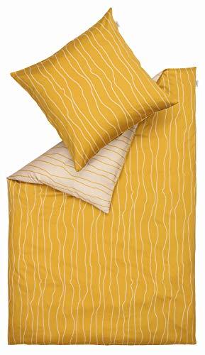 Schöner Wohnen Kollektion Flute 4teilige Bettwäsche Set 155x220 cm Baumwolle • 2X waschbarer Bettbezug gelb • 2X Kissenbezug 80x80 cm • 100% Baumwolle