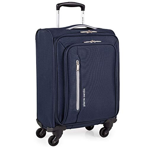 Soft Shell 21 Inch Suitcase with x4 Spinner Wheels - Cabin Jet2 EasyJet BA Luggage by Pierre Cardin | Fits 56x45x25 Hand Carry On | 21' 29L Light 2.0kg (Small 4 Wheels, Navy & Grey)