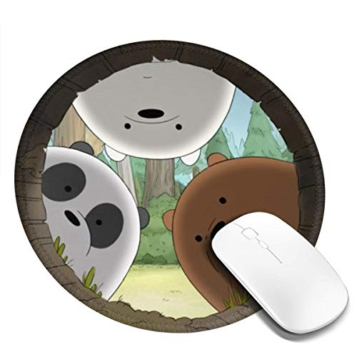 We Bare Bears Round Mousepad, Personalized Small Mouse Mat with Designs, Mouse Pad for Women Girls Office Dorm Computer Laptop Travel, 7.9 X 7.9 Inch