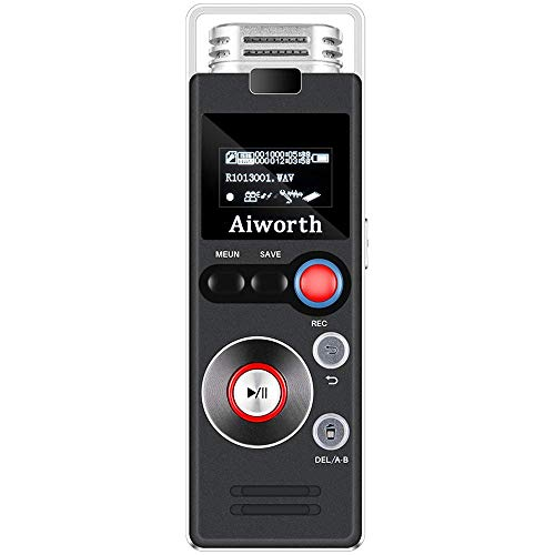 1536Kbps Digital Voice Recorder for Lectures - Aiworth 8Gb Voice Activated Recorder Dictaphone,FM Radio,MP3 Player 3 in 1,Support Password Lock Variable Play Speed AGC Set Bookmarks