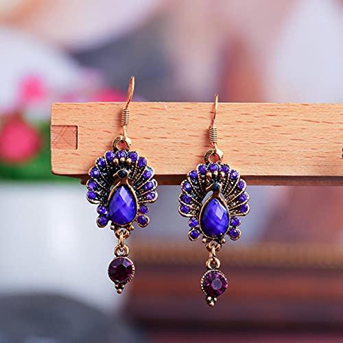 CXWK Pendientes de Pavo Real de la Tribu Gitana India de la India Vintage para Mujer, Pendientes de Gota de aleación de Diamantes de imitación púrpura étnicos Bohemios, Regalos de joyería
