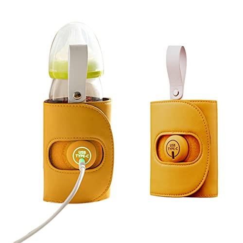 Calienta Biberones Portatil USB Para Bebés, Calentador De Biberones 24H Temperatura Constante/calentamiento Rápido Viaje Al Aire Libre Leche Bebida Calentador De Taza Termo Infantil Bo(Color:amarillo)