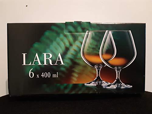 Bohemia Royal Crystal - Copas para Brandy de 400 ml. Línea Lara. Set de 6 piezas.