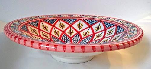 Mystery Souk handgemaakte Marokkaanse serveerschaal van keramiek of decoratieve schaal met Arabisch design Handmade Ceramic Moroccan Serving Bowl