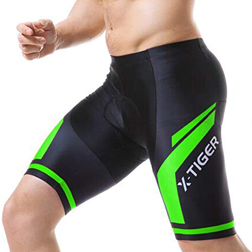 d.Stil Pantaloncini da Ciclismo da Uomo con 3D Gel Pad Pantaloni da Ciclismo Corti Ad Asciugatura Rapida Anti-Sweat (Verde, 2XL)