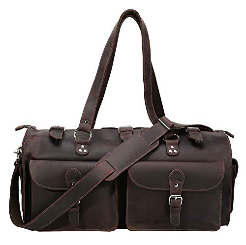 Polare 22'' Indiana Jones Looking Natural Leather Weekender Carry On Duffle Duffel Bag with YKK Zippers