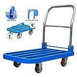 Carrelli Pieghevoli Piattaforma Carrelli Movimentazione Autocarri Sacco Camion Metallo Portatile Carrelli carico 200 kg (Color : Blue, Size : 90 * 60 * 88cm)