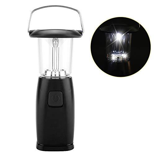 Riuty Luz de Emergencia para Acampar, Potencia de manivela Práctico LED con energía Solar Manivela Manual Linterna Tienda de campaña al Aire Libre Lámpara incorporada(Negro)