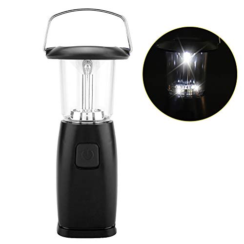 Riuty LED Solar Camping Lampe, praktische LED solarbetriebene Handkurbel Camping Laterne Outdoor Zelt Notlicht(Schwarz)