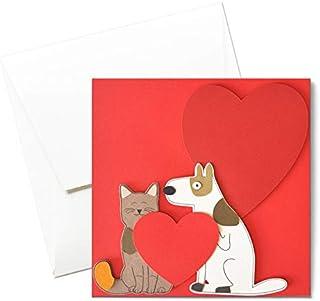 Cane e gatto - love - amore - festa degli innamorati - biglietto d'auguri (formato 14 x 14 cm) - vuoto all'interno, ideale...