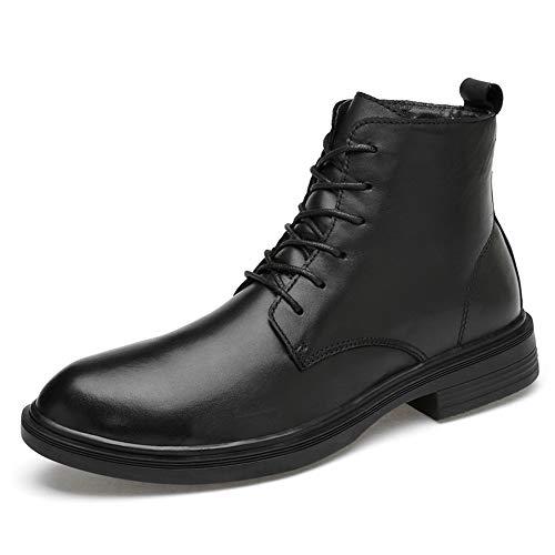 BND-SHOES , Botines de Moda para Hombre Casual Cómodo de Piel de Vaca Alto Top Botas Simples (Warm Velvet Opcional) Durable; soportar Desgaste (Color : Negro, tamaño : 41 EU)
