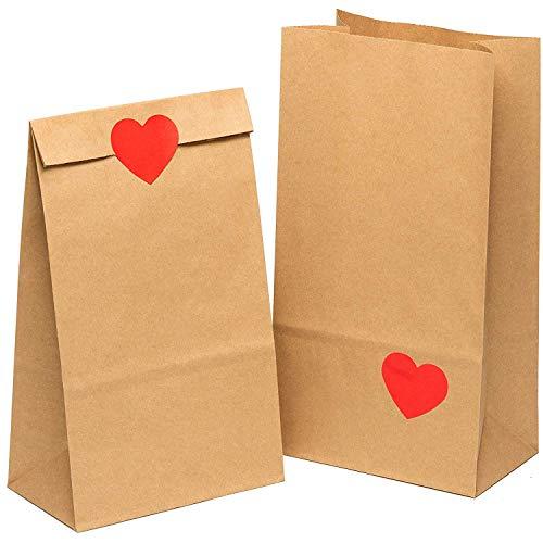 kgpack 50 STK. Papiertüten klein + Herz Aufklebern 14x26x8cm   Papiertüte zur Aufbewahrung von Lebensmitteln   DIY Adventskalender Papiertüte   Flat Bottom DIY kraftpapier Beutel
